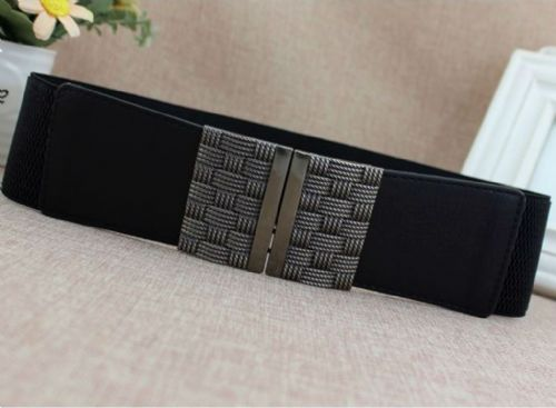 A Belt Women's Elastic Belts Black Stretch Club Wide Fashion  Belt Antique Silver Zabardo